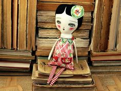 $65 EMILLE - Original Handmade Fabric Doll by Danita Art (Approx. 12 Inches Tall)