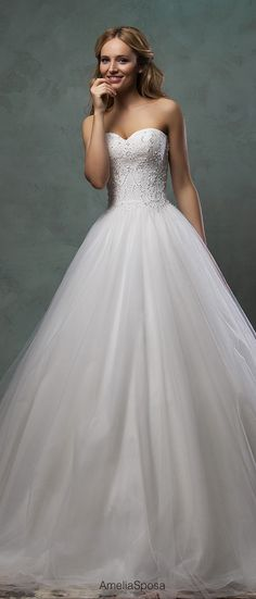 amelia sposa strapless a line sequins wedding dresses monica