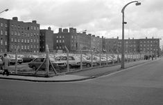 Date: circa 1978 Dublin Ireland, New York Skyline, Street View, Scene, Car Park, Travel, Life, 1970s, Photos