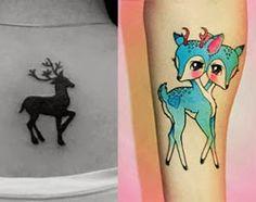 Tatuagens de cervo e gazela para mulheres