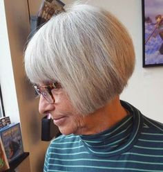 gray bob with bangs for older women  Esp. good for FINE hair.