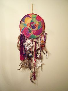 This is what happens when I don't have to go to clinical on Wednesdays anymore. Home-made dream catcher with found objects (the only thing I bought was three dollars worth of feathers at the craft store). Objects include an orange mermaid, a blue pig, and a purple skull.
