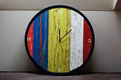 Colorful wall clock from recycled wood Clock Ideas, Recycled Wood, Wall Colors, Recycling, Colorful, Home Decor, Homemade Home Decor, Salvaged Wood, Wall Colours