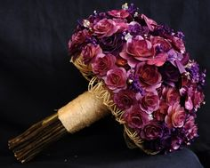 Purple Wooden Bouquet or Floral Centerpiece