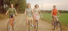 "Lesson 4: Dancing on your bike with your friends is the best way to have fun and look fabosh. | 12 Lessons From ""Now And Then"" About Being A Woman"
