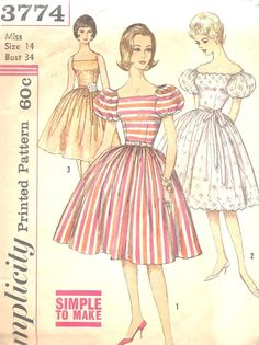 60's Part Dress with Puffy sleeves and full skirt