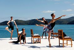 Warming up at Pebble Beach. The Australian Ballet performs at #qualia. #hamiltonisland