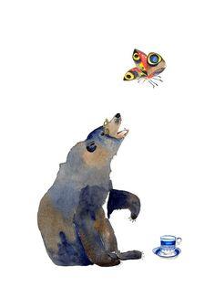 Bear and Butterfly Giclee Art print illustration 8x11. £12.00, via Etsy.