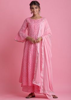 #pink #readymade #anarkali #suit #stylish #indian #salwar #kameez #eid #dresses #pakistani #suits #heavy #work #dupatta #ootd Readymade Salwar Kameez, Cotton Anarkali, Organza Saree, Pakistani Suits, Party Wear Sarees, Pink Fabric, Festival Wear, Printed Cotton, Bell Sleeves