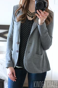 Kaylie Solid French Terry Blazer with Blaine Textured Chevron Print Blouse and a black statement necklace #stitchfix #fashion