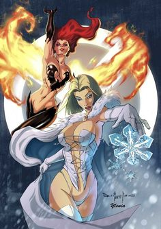 """""""Fire and Ice"""" as represented by the Phoenix & Emma Frost"""