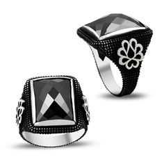 Beelogold - 925K Sterling Silver Onyx Men Ring