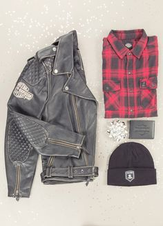 A classic outfit for a classic man. This Vintage Leather Biker Jacket is an instant classic when paired with a Red Plaid Flannel Shirt, Flip Fold Wallet, and Wounded Warriors Cuffed Knit Hat.