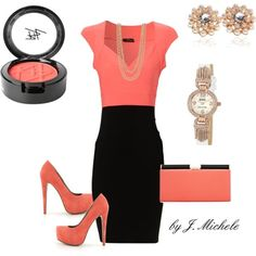 I am beyond in love with this just because it's coral. I want those shoes and that bag and that dress...and that blush.