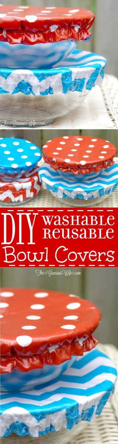 How to Make Washable Reusable Bowl Covers tutorial- a DIY sewing project perfect for summer, picnics, and cookouts. These bowl covers are washable, reusable, and even reversible. These DIY Bowl Covers are so cute! Definitely making them for our potlucks!