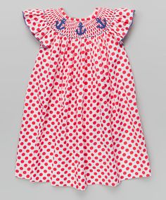 Take+a+look+at+the+Red+Polka+Dot+Anchor+Bishop+Dress+-+Infant,+Toddler+&+Girls+on+#zulily+today!