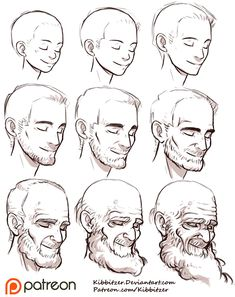 """Practice aging your characters with Kibbitzer's helpful reference sheet! kibbi: """"Aging Reference Sheet by *Kibbitzer You should try this exercise! Start from the middle-aged man! it's easier! it's..."""