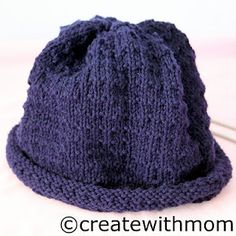 Knit roll brim hat with straight needles