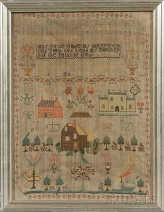 "Needlework Sampler, ""Elizabeth Elsdon worked this in the 10 year of her age January the 18 1801,"" probably England,"