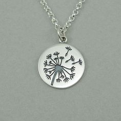 Dandelion Necklace - sterling silver womens jewelry, flower, dandelion jewelry, gift