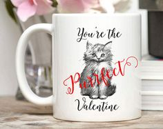 Cat Valentine Mug / Youre the Purrfect Valentine / Cute Kitten Mug / Cat Mug / Kitten Mug / 11 or 15 oz Youre the Purrfect Valentine. Valentines Mugs, Cat Valentine, Own Quotes, Cat Mug, Custom Mugs, Kittens Cutest, Bridesmaid Gifts, Birthday Gifts, Unique Jewelry