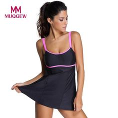 df43be55bb MUQGEW One Piece Swimsuit Swimdress Women Cover Belly Swimwear Black  Vintage Retro Bodysuit Bathing Suit Monokini Plus Size 3XL