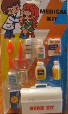 Toy medicine kits. I used to get these from the grocery store!