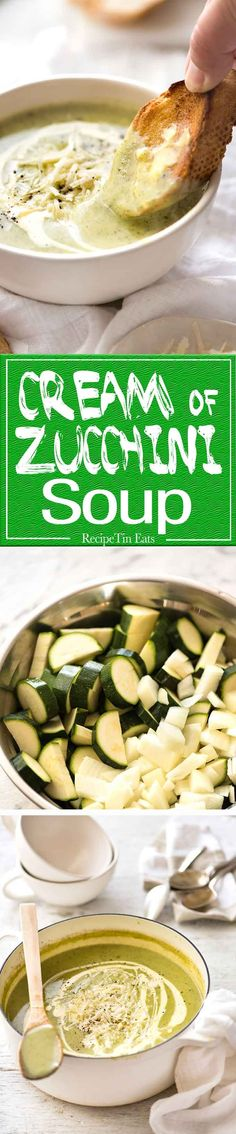 Silky, thick, Healthy Creamy Zucchini Soup. Perfect for dunking in hot crusty bread! www.recipetineats.com