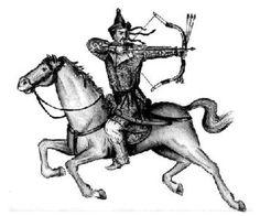 Hátrafelé nyilazó magyar lovas íjász
