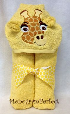 Giraffe Hooded Towel and Washcloth Set by MonogramPerfect on Etsy