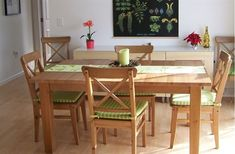 IKEA Stornas table, ingolf chairs.