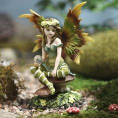 Nice Delicate Garden Fairy Figurine With Crystal Ball   Fairy Garden Miniatures