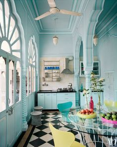 AD Goes Inside Marie-H l ne de Taillac s Colorful Home In Jaipur Architectural Digest compact and stylish kitchen hang dry dishes above sink functional sink functional cooktop open concept venting simple and functional stylish small space Interior Modern, Interior Exterior, Home Interior, Kitchen Interior, Interior Decorating, Kitchen Walls, Interior Ideas, Architectural Digest, Deco Turquoise