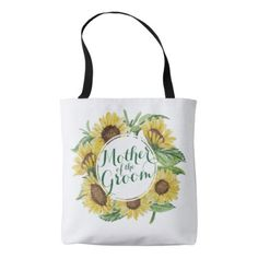Mother of the Groom Sunflower Wreath Tote Bag - accessories accessory gift idea stylish unique custom