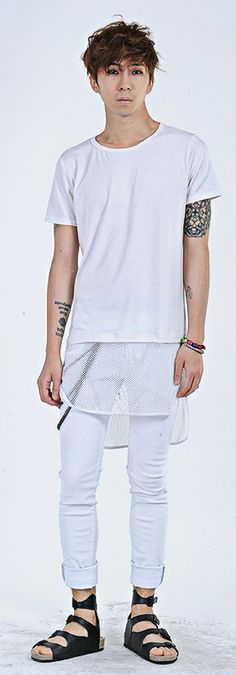 fish Net Inserted T-Shirt