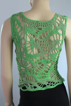 Spring Grass Cotton Freeform Crochet Tank Top by levintovich