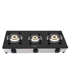 Pigeon 3 Burner Glass Top Gas Stove Favorite - Snapdeal