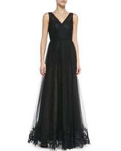 Sleeveless Sequined Gown with Tulle Overlay by ML Monique Lhuillier at Neiman Marcus.