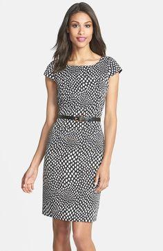 Tahari Belted Print Sheath Dress (Regular & Petite) available at #Nordstrom