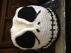 "Skeleton ""Jack Skellington"" adult crochet toque.  Yes toque - it's a Canadian thing"