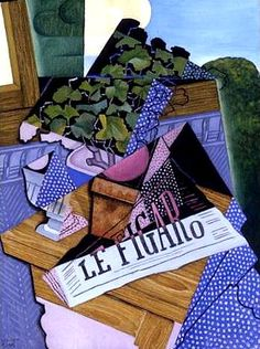 """A Pot of Geraniums"".Artist: Juan Gris Completion Date: 1915 Style: Synthetic Cubism Genre: still life Technique: oil Material: canvas Dimensions: x cm Gallery: Private Collection. Spanish Painters, Spanish Artists, Henri Matisse, Canvas Art Prints, Oil On Canvas, Synthetic Cubism, Cubism Art, Georges Braque, Oil Painting Reproductions"