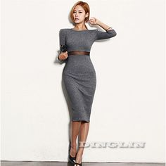 2015 New Ladies Women Dresses Autumn Winter Work Office Long Sleeve Dress Party Sexy Club Bodycon Bandage Midi Vestido CL1560