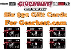 We're giving away six $50 gift card that can be used to buy anything at Gearbest.com.  Entries will be accepted thru 9/22/16 from all countries.