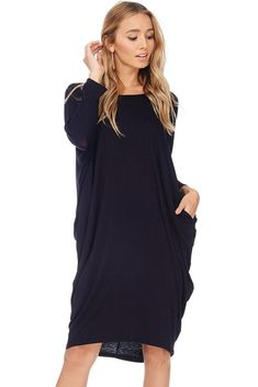 A+D Womens Casual Scoop Dolman Slv Tunic Midi Dress W/ Pockets - best woman's fashion products designed to provide Casual Dresses For Women, Casual Outfits, Clothes For Women, Woman Dresses, Spring Fashion Casual, Girl Fashion, Womens Fashion, Half Sleeves, Cold Shoulder Dress