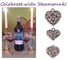 Use Janlynn's Steampunk charms to make cute wine charms like these!