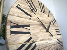 Beautiful hackberry clock, in diameter. Solid hackberry hardwood is used. Handmade in Iowa, ships nationwide free. Popular Tree, Handmade Clocks, Roman Numerals, Wood Wall, Iowa, Solid Wood, Hardwood, Ships