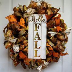 Fall Wreath, Autumn Wreath, Fall Deco Mesh, Fall Door Hanger, Autumn Door Hanger, Thanksgiving Wreath by Texascaseyscreations on Etsy