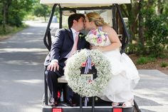 Golf Cart Send Off For The Newly Weds.   Knot Too Shabby Events  Wilmington, NC Event Planning & Wedding Coordination - Event Blog - Knot Too Shabby Events Wilmington, NC Wedding & Event Coordination