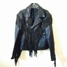 Vintage Biker 1980s Fringe leather jacket Men / Women by foxxlux on Etsy