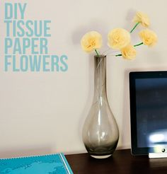 diy tissue paper flowers :: .liveit.loveit.blogit. Craft Projects, Projects To Try, Diy Ideas, Craft Ideas, Tissue Paper Flowers, Grad Parties, Glass Vase, Creativity, Party